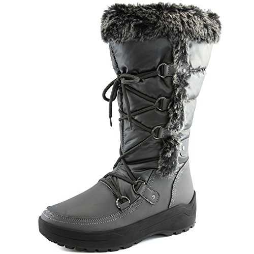 Women's DailyShoes Woman's Knee High Up Warm Fur Water Resistant Eskimo Snow Boots, (Fur Trim Knee Boot)