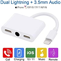 iPhone 7 Headphone Lightning Adapter - iPhone 7 Audio Splitter with Dual Lightning & 3.5mm Audio, iPhone 7/8/X Splitter with Charge, Call & Music Function