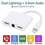 #2: iPhone 7 Headphone Lightning Adapter - iPhone 7 Audio Splitter with Dual Lightning & 3.5mm Audio, iPhone 7/8/X Splitter with Charge, Call & Music Function