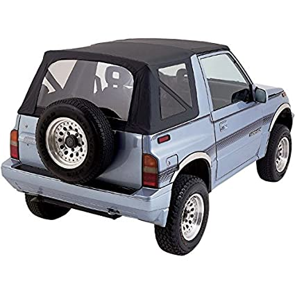 Sierra Offroad Suzuki Sidekick/Chevy Tracker Soft Top 86-94 in Black  Leather Grain Vinyl, Clear Windows