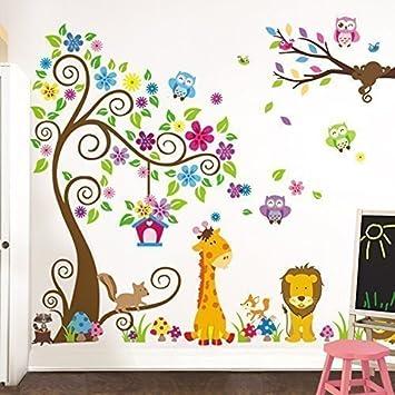 Grandora W5376 Wandtattoo Kinderzimmer Premium Set XXL Baum Giraffe Löwe  Baby Kinder Komplettset
