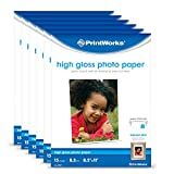 """Printworks High Gloss Photo Paper for Inkjet Printers, 8.5 mil, (6 pack bundle) 150 Sheets, 8.5"""" x 11"""" (00468C)"""