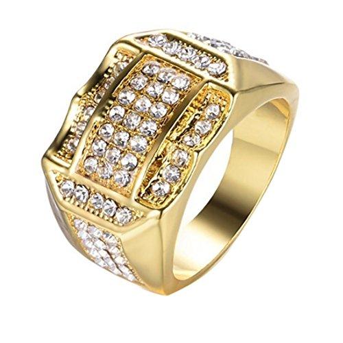 - Men Ring,Anboo Diamond Insert Male Men Ring Business Ring A Birthday Present Gift,Men Ring Prime Wedding Gift (Gold, 10)