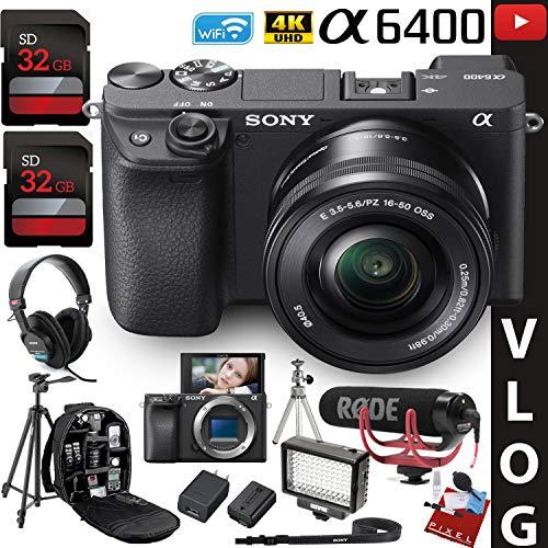 Sony Alpha a6400 Mirrorless Digital Camera with 16-50mm Lens Vlogging Kit