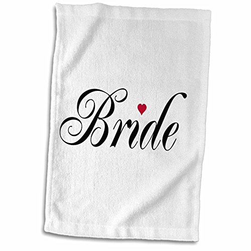 3D Rose Red Love Heart Part of a Bride and Groom Set-Wedding Marriage Married Hen Bachelorette Hand/Sports Towel, 15 x 22