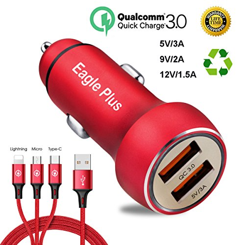 Car Charger Adapter, Quick car charger 3.0 Mini Dual USB Car charger Adapter For Smart Phones Mobile Device, Combination Kit with 2.4A 3-in-1 Fast Charging Cable. (red) ()