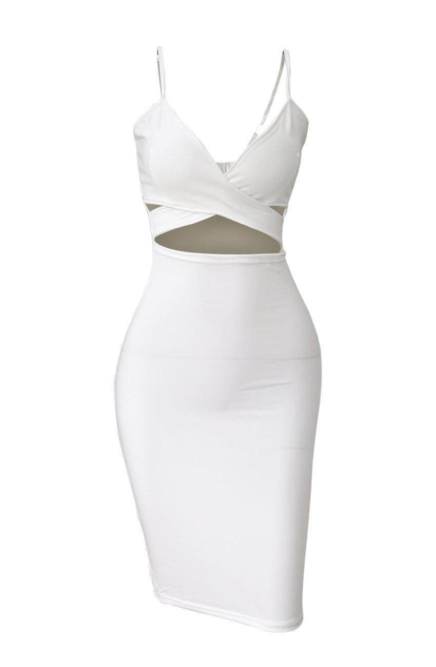 Doramode Sexy Strap Backless Cut-Out Bandage Bodycon Clubwear Midi Dress For Women , White , Small