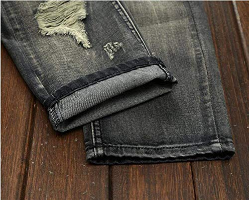 Hole Grau Slim Classiche Jeans Leisure Reality Distressed Badge Ragazzi Pantaloni Trend Time Da Retro Denim Uomo 163 Straight wXaxBCqa