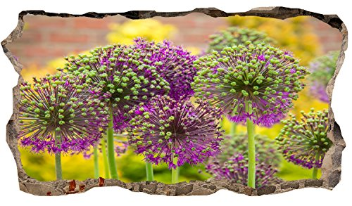 Startonight 3D Mural Wall Art Photo Decor Purple Flower Amazing Dual View Surprise Large 32.28 inch By 59.06 inch Wall Mural Wallpaper for Living Room or Bedroom Landscape Collection Wall (Famous Couples Halloween)