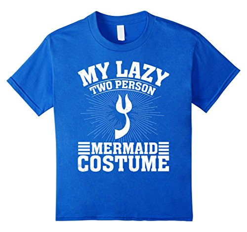 Kids My Lazy Two Person Mermaid Costume Halloween Couple T-Shirts 8 Royal Blue
