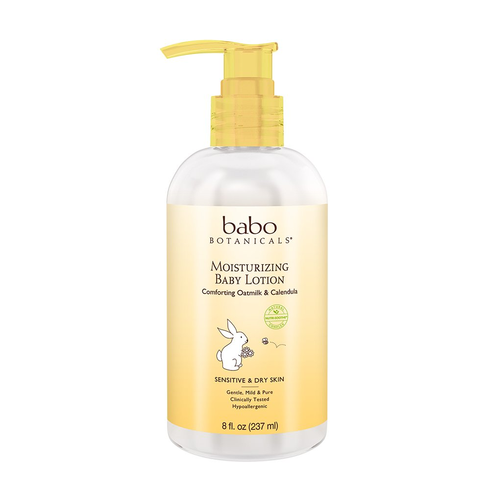 Babo Botanicals Oatmilk Calendula Moisturizing Baby Lotion, 8 Ounce - Best Baby Lotion for Soothing Sensitive Skin; Helps Relieve Eczema and Dry Skin; Natural Oat and Organic Calendula