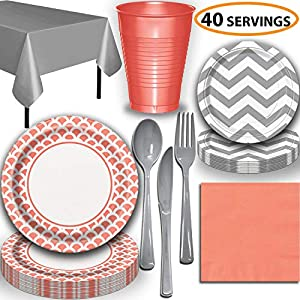Disposable Tableware, 40 Sets - Coral and Silver - Scallop Dinner Plates, Chevron Dessert Plates, Cups, Lunch Napkins, Cutlery, and Tablecloths: Premium Quality Party Supplies Set