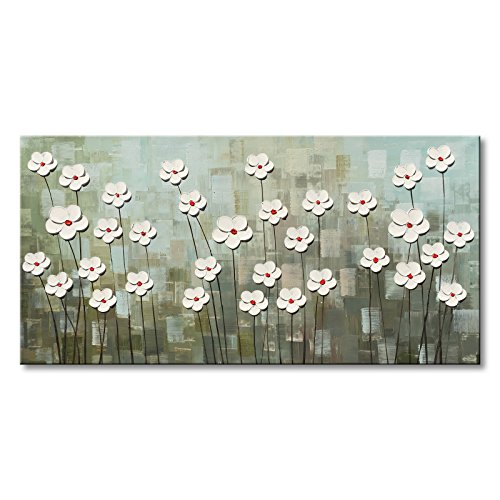 - Large Textured Abstract Canvas Wall Art Hand Painted White Flower Oil Painting Modern Floral Artwork