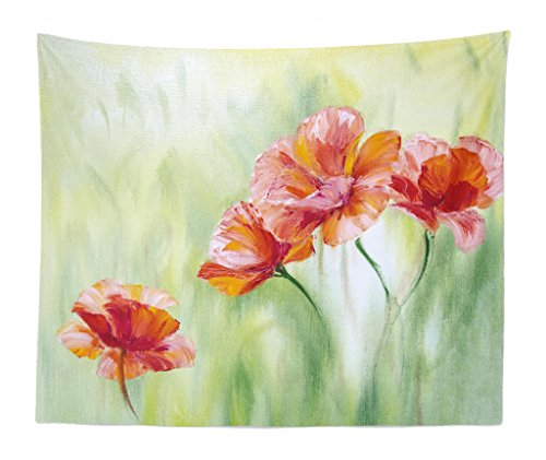 Lunarable Floral Tapestry King Size, Illustration Poppy Flowers Oil Painting on Canvas Romantic Design Print, Wall Hanging Bedspread Bed Cover Wall Decor, 104 W X 88 L Inches, Pale Yellow Orange