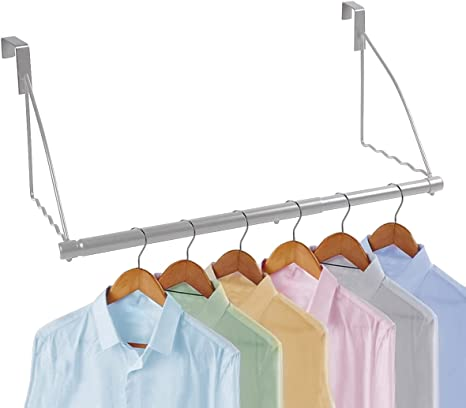 """Over The Door Closet Valet- Over The Door Clothes Organizer Rack and Door Hanger for Clothing or Towel Fits Doors up Till 1/¾/"""" Thick Home and Dorm Room Storage and Organization Black"""