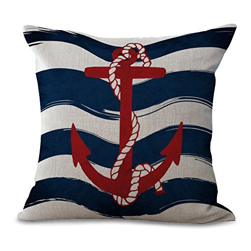 Miracle Dec Nautical Fashion Stripes Anchor Pattern Cream Linen&Polyester Square Throw Pillow Covers Cushion Covers Textured (18