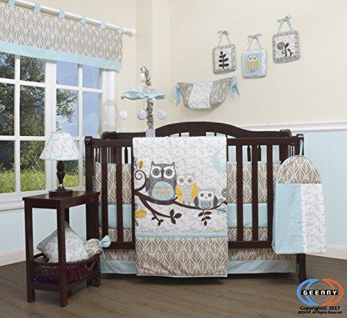 GEENNY Boutique Baby 13 Piece Nursery Crib Bedding Set, Enchanted (Baby Boy Owl Bedding Crib Sets)