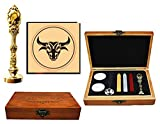 MNYR Capricorn Custom Constellation Wax Seal Stamp Wood Box Gold Metal Peacock Handle Melting Spoon Candle Wedding Invitation Gift Card Candle Envelope Custom Logo Wax Seal Sealing Stamp Stick Kit