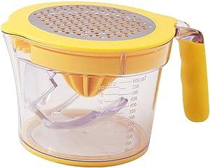 KOBSAINF Orange Citrus Lemon Orange Juicer Manual Hand Squeezer Fruit Juicer Non-Slip Reamed Egg Separator with Built-in Measuring Cup Grater Non-Slip Silicone Handle 20OZ