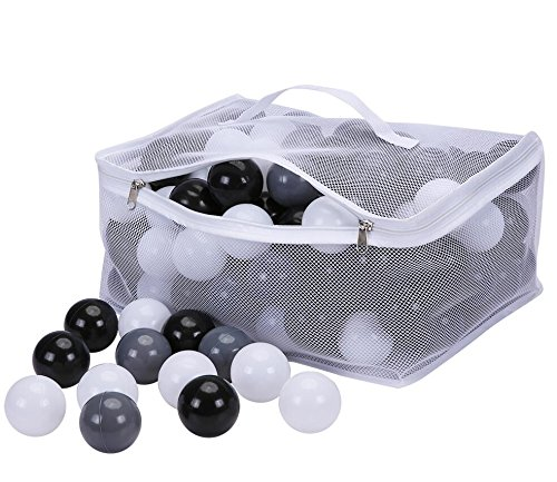 PlayMaty Pack of 150 Colorful Ocean Ball Plastic Ball Kids Swim Pit Fun Toy White Black Grey 150 Pieces Balls with Storage Bag for Baby Playhouse Pool Birthday Party Decoration