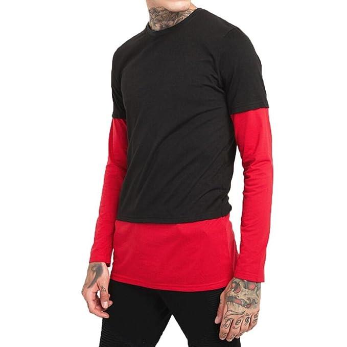 d34808143ed101 Männer Casual Langarm O-Ausschnitt Patchwork Shirt Top Bluse Venmo Herren  Sommer Hoodie Bluse Mode Kapuzen Pullover Herren Kurzarm Sports T-Shirt  Slim Fit ...