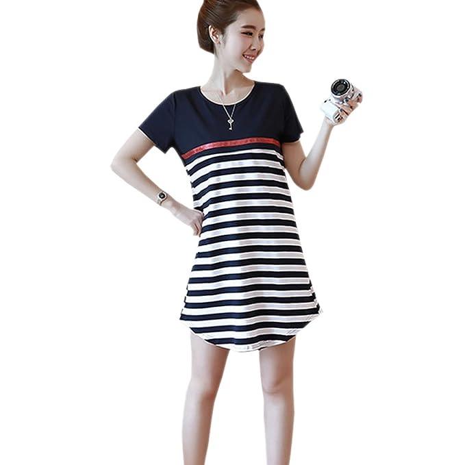 XFentech Mujer Embarazo Vestido Lactancia - Moda Cómodo Algodón Premamá Blusa Maternidad Camiseta Vestidos Verano,
