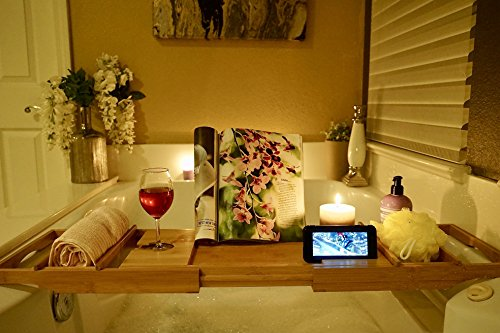Bed Table & Bathtub Tray -- Combines bamboo bath tub caddy for relaxation and bed tray for productivity into 1 -- Luxurious bathtub caddy for bath accessories wine glass book iPad phone and laptop by Sugarwood Home (Image #3)