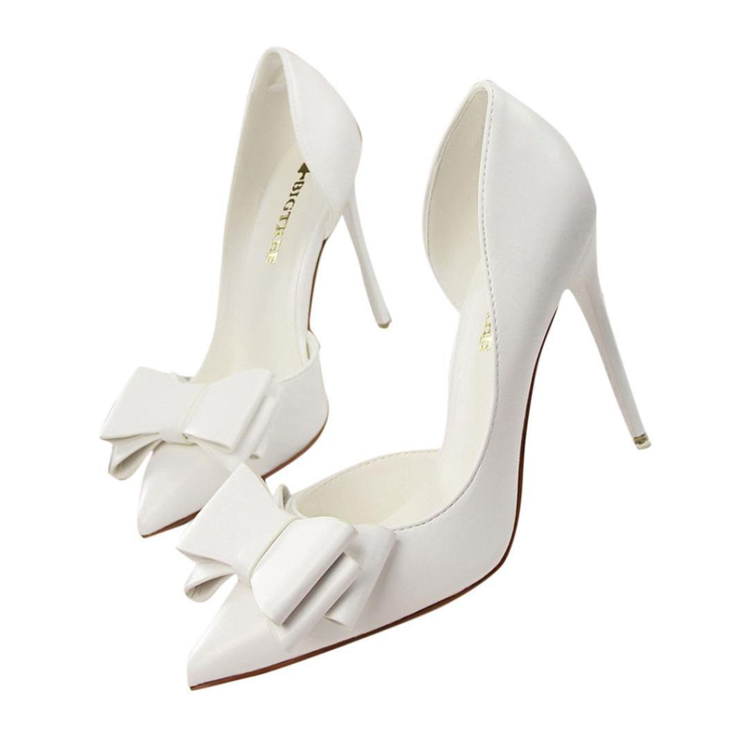 yjydadaレディースパンプスSweetリボン付きハイヒール靴レディース靴セクシーなシンPointed単一靴 B07D3K6NHS 39|ホワイト ホワイト 39
