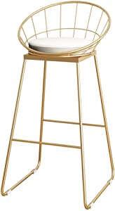 ALIPC Gold Kitchen Counter Bar Chairs High Stools Footrest Breakfast Bar Stool Metal Legs and Linen Seat, Max.150kg
