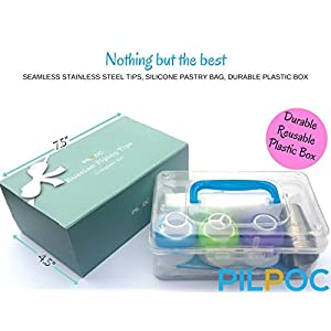 Russian Piping Tips Set (75 PCS): 10 Seamless Russian Tips For Cake Cupcake Decorating, 1 Leaf Tip, 1 Silicone and 60 Disposable Pastry Bags, 3 Couplers, Plastic Box, Shape Chart and E-Book by PILPOC
