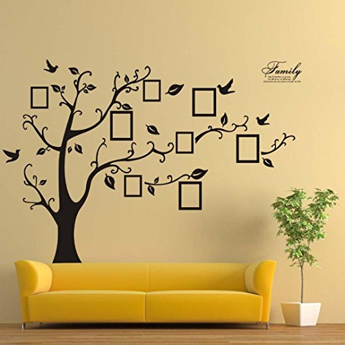 Zeshlla Large Family Tree Wall Decal Peel & Stick Vinyl Sheet, Easy to Install & Apply History Decor Mural for Home, Bedroom Stencil Decoration.DIY Photo Gallery Frame Decor Sticker Home (Stencils For Murals)