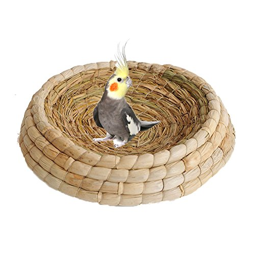 Handwoven Straw Bird Nest Cage for Parrot Macaw African Greys Budgies Parakeet Cockatoo Cockatiels House Hatching Breeding Cave,Also For Hamster Guinea pig Chinchillas Rabbit Bed House