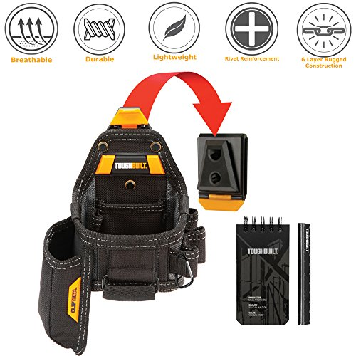 ToughBuilt - Tape Measure / Utility Knife Pouch + Notebook & Pencil - 7 Pockets and Loops, Notebook Pocket, Plastic-lined Knife Pocket (Patented ClipTech Hub & Belts) (Pocket Knife Measures)