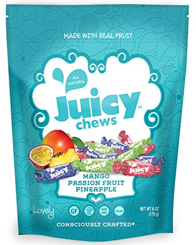 VEGAN All-Natural Tropical Fruit Chews - Lovely Co. 6oz Bag - Mango, Passion Fruit & Pineapple Flavors | NON-GMO, Soy-Free, Kosher & Gluten-Free!