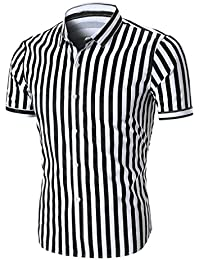 Hot Sale Men's Summer Short Sleeve Striped Shirt Top Blouse Tee Shirt