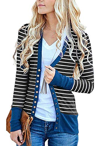 (FAFOFA Women Knit Cardigan Stripe V Neck Open Front Ribbed Outwear Button Down Coat Blue L )
