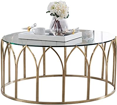 Amazon Com Round Living Room Small Wrought Iron Coffee Table Stainless Steel Tempered Glass Creative Living Room Furniture Color Transparent Color Size 60 60 46cm Furniture Decor