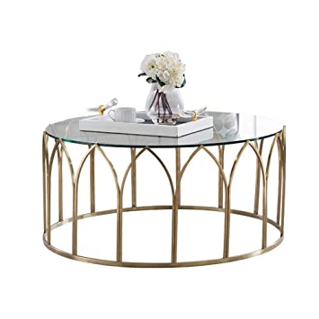 Table Basse Ronde Verre.Petite Table Basse Ronde De Salon En Fer Forge Meubles De
