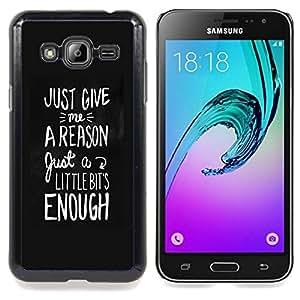 Eason Shop / Premium SLIM PC / Aliminium Casa Carcasa Funda Case Bandera Cover - Texto blanco Razón - For Samsung Galaxy J3 GSM-J300