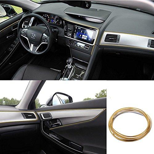 ATMOMO 5M Flexible Trim for DIY Automobile Car Interior Exterior Moulding Trim Decorative Line Strip (Golden)