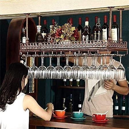 Estantes para Vino, Soporte para Botella De Vino Colgante para Montaje En El Techo De Altura Ajustable, Estante para Copas De Vino De Hierro Metálico, Estantes para Copas De Copa-Black  100 * 35cm