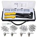 LiNKFOR Rivet Gun Kit with 200 Rivets Hand Repair Fastening Tools Riveter, Heavy Duty Hand Riveter Set for Metal, Wooden and Plastic for Sheet Metal, Automotive and Duct Work