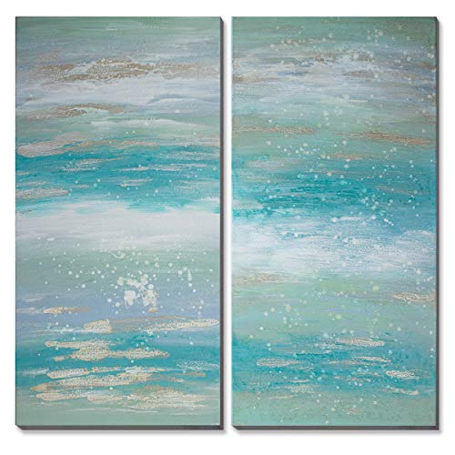 - 3Hdeko - Teal Gold Abstract Canvas Wall Art Blue Ocean Coastal Wall Decor Turquoise Seascape Oil Painting for Living Room Bedroom Office, Stretched 20x40inchx2pcs