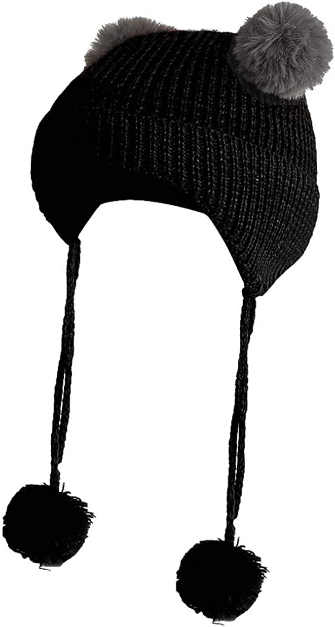 King Star Child Kids Boys Girls Fur Pom Pom Baseball Hat Hip-hop Cap Winter Hat