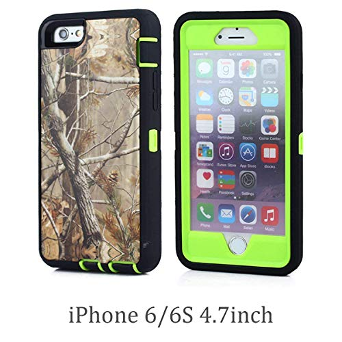 For iPhone 6 (4.7 Version), Chanroy Heavy Duty Shockproof Dirtproof Defender Case Cover with Built-in Screen Protector + 1 Belt Clip Holster (Green tree)