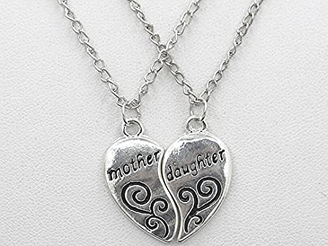 Amazon 2 pieces silver pendants necklace broken heart mother 2 pieces silver pendants necklace broken heart mother and daughter pendant sweater chain fashion jewelry christmas aloadofball Images