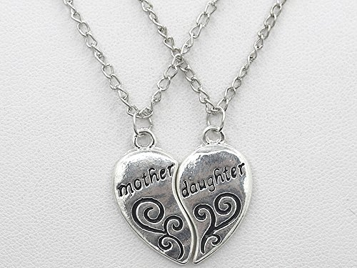 2 Pieces Silver Pendants Necklace Broken Heart Mother And Daughter Pendant Sweater Chain Fashion Jewelry Christmas Mom Birthday Gift