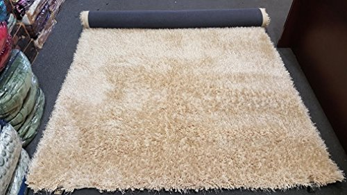 Gold Man Spotlight Light Beige Tan Shaggy Flokati Shag Area Rug 5x7 High End Designer Quality Flokat Fuzzy Pile Soft Iridescent Fluffy Ultra Plush Living room Bedroom 2017 (Hand Tufted Beige Polyester)