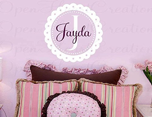 Susie85Electra Personalized Wall Decal scallop eyelet circle frame border initial name baby nursery fun cute vinyl wall decal transfer sticker