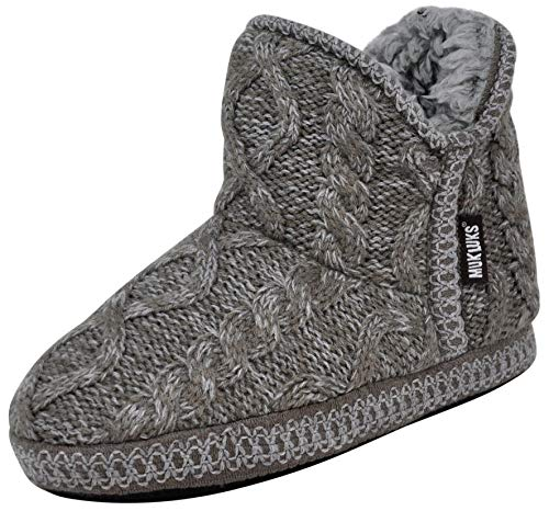 MUK LUKS Women's Amira Short Slipper Bootie (M / 7-8 B(M) US, Cable Grey)